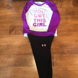 Under armour girls matching outfit cute